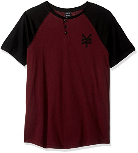 Zoo York Men's Short Sleeve Sidewinder V Neck Knit Shirt, Biking Red Heather, Medium