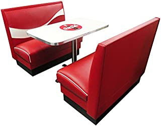"product image for Vitro Seating Products CB-II Coke Dinette Furniture Set with 2 Dynamic Booths and 24"" x 42"" Table, Red and White (Pack of 3)"