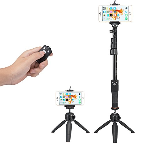 accmor Tabletop Selfie Stick Monopod with Bluetooth Remote & Tripod Stand for iPhone and Android, iPad, Cell Phone and Tablets, GoPro, Sony Action Cam and Sports Camera(Black) by accmor