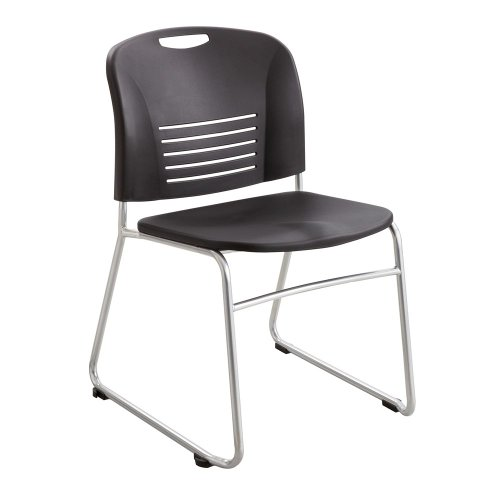(Vy Series Stack Chairs, Plastic Back/Seat, Sled Base, Black,)