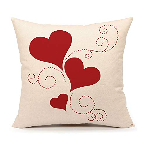 4TH Emotion Valentine's Day Throw Pillow Cover Cushion Case 18 x 18 Inch Cotton Linen Red Love Heart Home Decor (Valentines Day Throw Pillows)