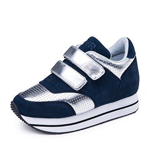 Primavera Zapatos De Suela Gruesa Plataforma,Aumentado, Zapatos De Deporte De Cuero Velcro,Los Zapatos De Las Mujeres B