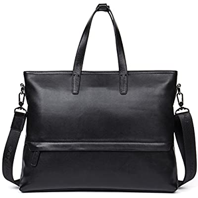 DANJUE Leather Briefcases for Men Top Handle Business Travel Tote Bag with Removable Strap Handbags Laptop 15 Inch 181-1