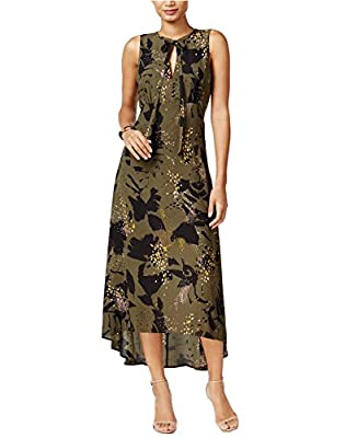 Bar III Women's Sleeveless Keyhole Printed High-Low Maxi Dress