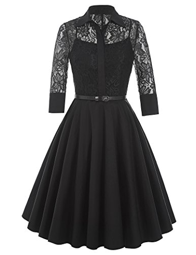 Belle-Poque-Womens-Vintage-1950s-Black-Swing-Work-Dresses