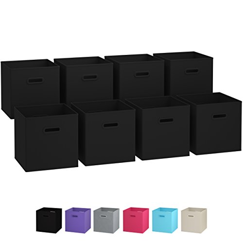 Royexe Storage Bins - Set of 8 - Storage Cubes | Foldable Fabric Cube Baskets Features Dual Plastic Handles. Cube Storage Bins. Closet Shelf Organizer | Collapsible Nursery Drawer Organizers (Black) (Closet Maid Black Drawer)