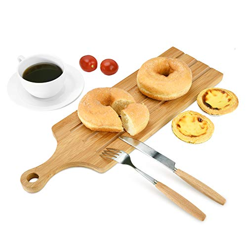 Cheese Board, Bamboo Cheese Plate, Bread Cutting Board with Handle,Chopping and Serving Paddle for Baguette Bread, Cheese and Charcuterie, Cheese Platter by Lisuuu