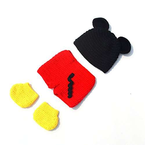 Photography Prop Baby Costume Cute Crochet Knitted Hat Diaper Shoes Mickey (Newborn Mickey Mouse Costume)