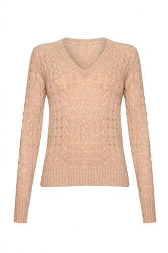 Beige Sweater Cashmere (Ladies Cashmere Cable V- Neck Sweater, Beige, XL)