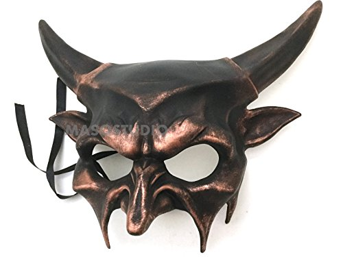 Brown Masquerade Masks (Horned Devil Mask Animal Masquerade Halloween Cosplay Haunted House party mask Art Wall Deco (Copper))