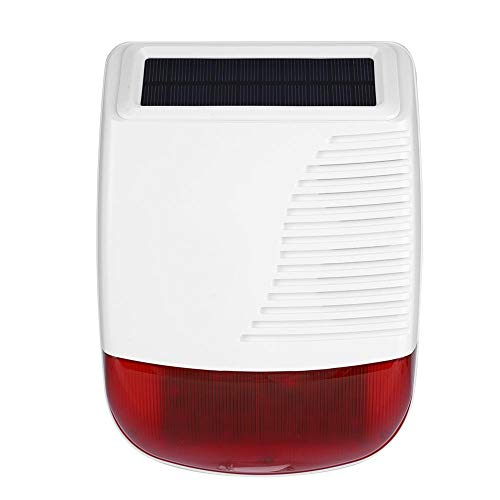 Wireless Strobe Siren Alarm, 433MHz Solar Powered Standalone Sound Light Alarm Loud Alarm Outdoor Waterproof for Fire Alarm & Intrusion Security Alarm