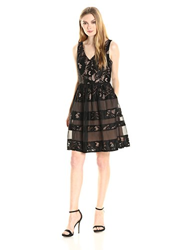 Adrianna Papell Women's V-Neck Fit N FLR with Organza Insert Dress, Black/Palepink, 10