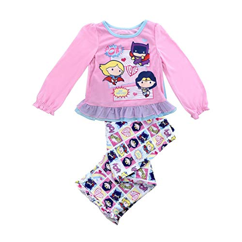 Justice League Girls' Toddler 2 Piece Sleepwear Set with Cape, Pink, 4T -