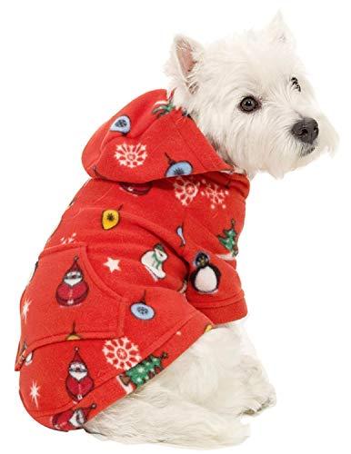 Footed Pajamas Pet Pjs - - Holly Jolly Christmas Pet Pjs Fleece Hoodie