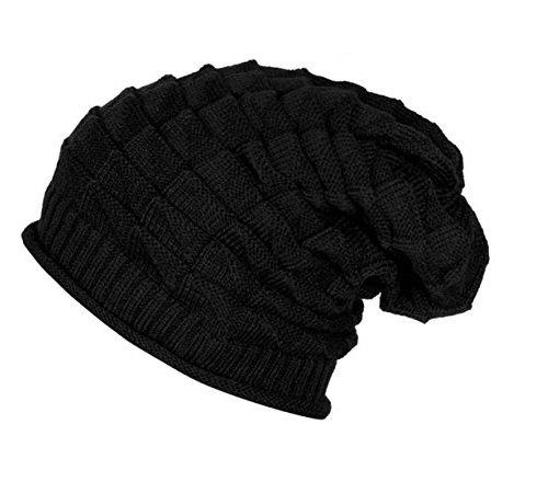 SAIFPRO Woolen Black Slouchy Beanie Cap