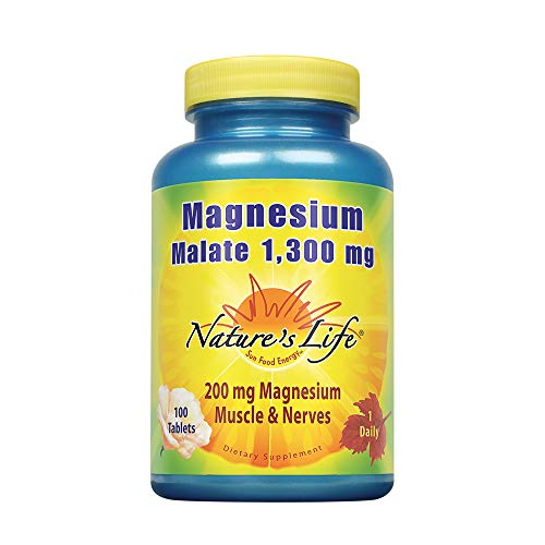 Nature's Life Magnesium Malate Tablets, 1300 Mg, 100 Count