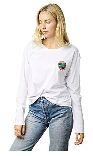 Santa Cruz Ringed Dot Womens Crop T-Shirt White (XS)