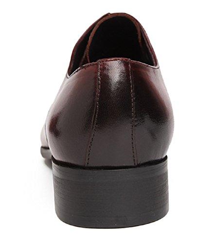 Santimon Mens Classico In Pelle Moderna Oxford Lace Up Gradiente Puntale Vestito Scarpe Rosse