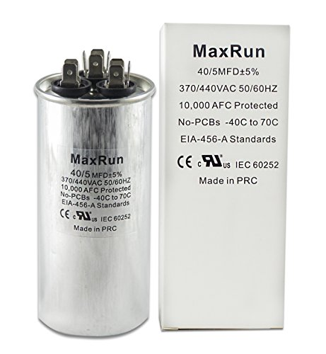 MAXRUN 40+5 MFD uf 370 or 440 Volt VAC Round Motor Dual Run Capacitor for AC Air Conditioner Condenser - 40/5 uf MFD 440V Straight Cool or Heat Pump - Will Run AC Motor and Fan - 1 Year (Standard Capacitor)