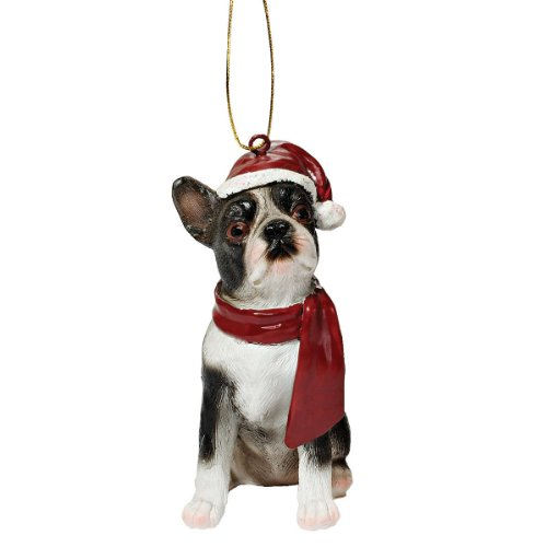 Boston Christmas Ornament Terrier - Design Toscano Boston Terrier Holiday Dog Ornament Sculpture, Full Color