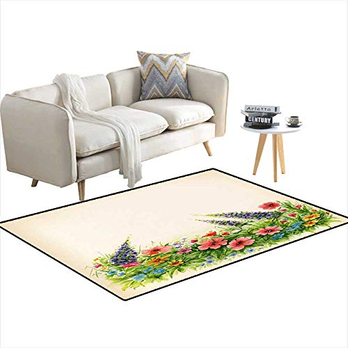 (Kids Carpet Playmat Rug Lawn wi Wildflowers on White backgrounWatercolor Floral Background 36