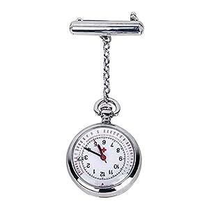Nurse Watch Fob Pocket Watch Top Brand Quartz Brooch Medical Watch Pendants Rose Gold Silver (Silver)