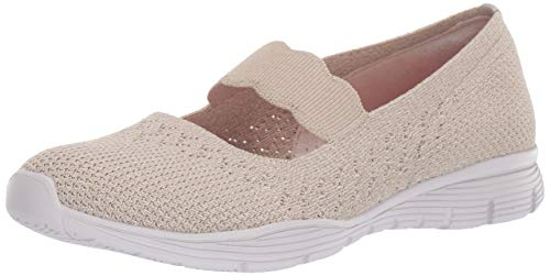 Skechers Women's Seager-Power Hitter-Engineered Knit Mary Jane Flat, Natural, 11 M US