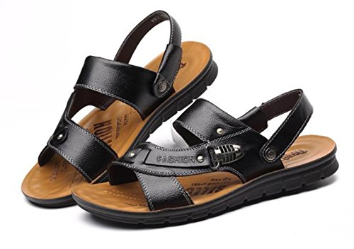 Pelle YCMDM c'è di nuovo estate fibbia in metallo Men Casual Shoes Pelle bovina sandali della spiaggia Pantofole , black , 44