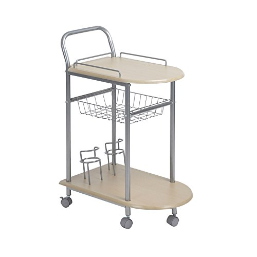 ASUUNY Wood &Metal Bar Carts On Wheels 3-Tier Kitchen Serving Rolling Storage Cart Dinner Room Tea Wine Holder Serving Cart