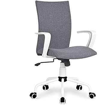 Amazon Com Dj 183 Wang Grey Modern Desk Comfort White Swivel