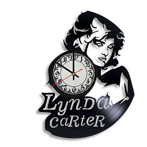 Lynda Carter Actress Handmade Vinyl Record Wall Clock, Get Unique Bedroom or Nursery Wall Decor - Gift Ideas for Kids and Teens - Unique Art -