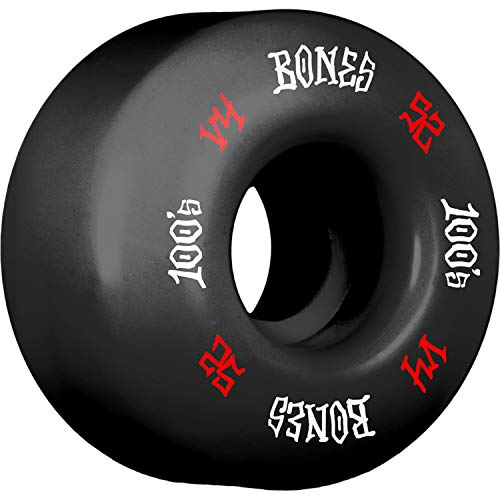 Bones Wheels 52mm 100's OG #12 V4 Black w/Red/White Skateboard Wheels - 100a with Bones Bearings - 8mm Bones Reds Precision Skate Rated Skateboard Bearings (8) Pack - Bundle of 2 Items