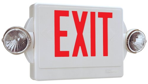 Lithonia Lighting LHQMSW1R 120/277 RED Quantum Red LED Combo Exit/Emergency Light with Back-Up Battery