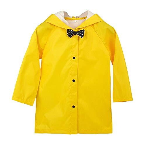 Xingsiyue Bowknot Kids Raincoat Hooded Rainwear Rainproof Poncho Yellow Rainsuit