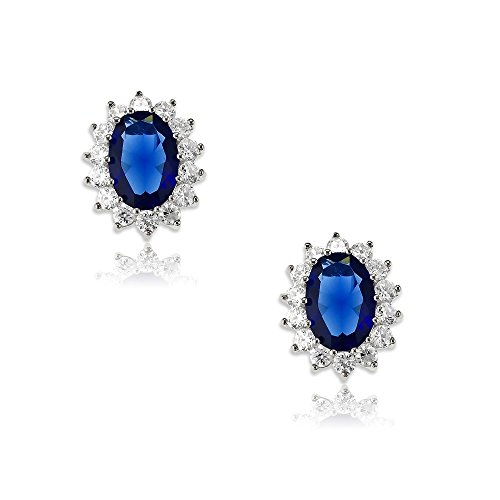 Sterling Silver Oval Created Sapphire/Tanzanite/Rainbow CZ Princess Diana/Kate Middleton Earrings ()