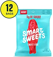SmartSweets Sweetfish 1.8 Ounce Bags (12 Count), Candy With Low-Sugar (3g) & Low Calorie (80)- Free of Sugar Alcohols & No A