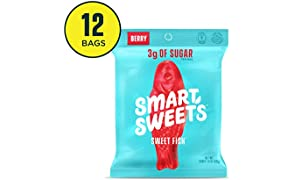 SmartSweets SweetFish 1.8 oz bags (box of 12), Candy with Low-Sugar (3g) & Low Calorie (80)- Free of Sugar Alcohols & No Artificial Sweeteners, Sweetened with Stevia