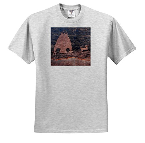 Danita Delimont - Artwork - Usa, Utah, Owl Panel with big horn sheep, ancient petroglyph - T-Shirts - Adult Birch-Gray-T-Shirt Large (ts_260266_20) (Petroglyph Panel)