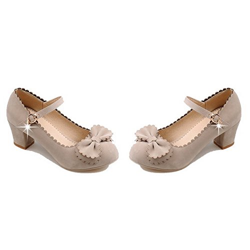 Shoes Solid Round Heels WeiPoot Beige Pumps Kitten Toe Frosted Buckle Women's nqqYfAz