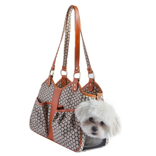 Petote Metro Couture Leather Trim Dog Carrier, Tangerine, ()