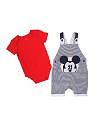 Disney Baby Boy's Mickey Shortall/Creeper Shorts Set, Red, 12M