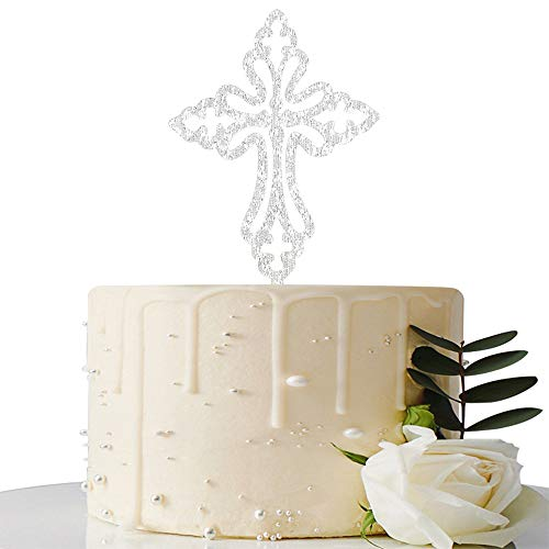 MaiCaiffe Sliver Cross Cake Topper, First Communion, Wedding Religious Baptism Christening, Child Dedication Keepsake Decoration (Sliver)