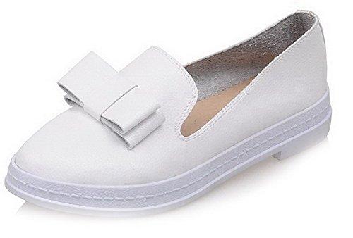 AllhqFashion Damen Niedriger Absatz Rein Ziehen auf Rund Zehe Pumps Schuhe Weiß