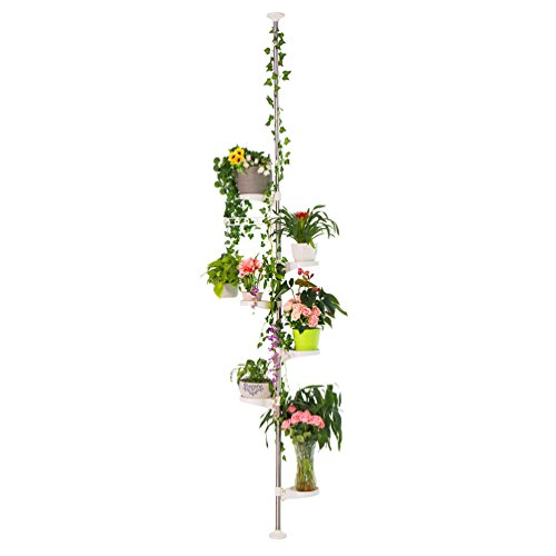 Spring Flowers Plant (Baoyouni 7-Layer Indoor Plant Stands Spring Tension Pole Metal Flower Display Rack Space Saver Corner Floral Pot Hanger Shelf, Ivory)