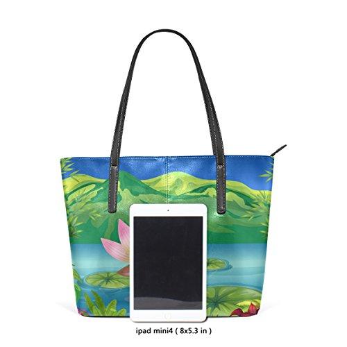 COOSUN Lotus Lake Landschaft PU Leder Schultertasche Handtasche und Handtaschen Tote Bag für Frauen