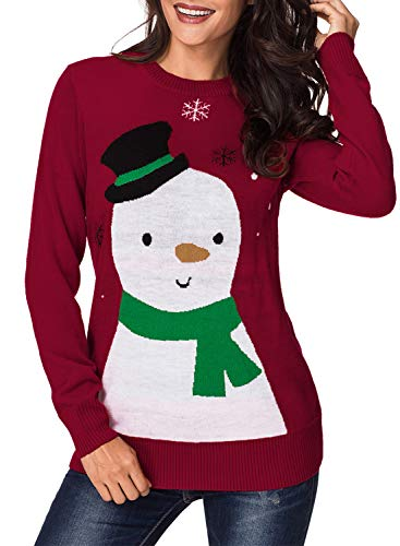 - Womens Long Sleeve Ugly Christmas Sweaters Funny Snowman Snowflakes Loose Knit Pullover Jumper Tops Shirt Red XXL 18 20