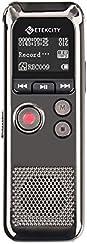 Etekcity EDVR-300 Grabadora de Voz Digital de Acero, Grabadora Recargable Portátil hasta 200 Horas de Uso Continuo (8GB, MP3, USB) con Tres Micrófonos, Auriculares Incluidos, Función de Reducción de Ruido y Grabación Activada por Voz, Plata