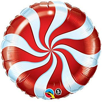 Single Source Party Supplies 18: Peppermint Red Candy Swirl Foil Balloon - Pack of 5