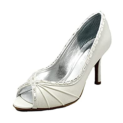 SendIt4Me Silver Satin Peep Toe Court Shoes With Diamante Bow g5MVe