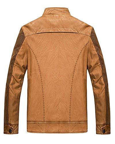 Pu Bomber Colletto Cappotto Small Dimensione Classico Da Cargo Outwear Cerniera Uomo Giallo colore Casual rUraI0Xq